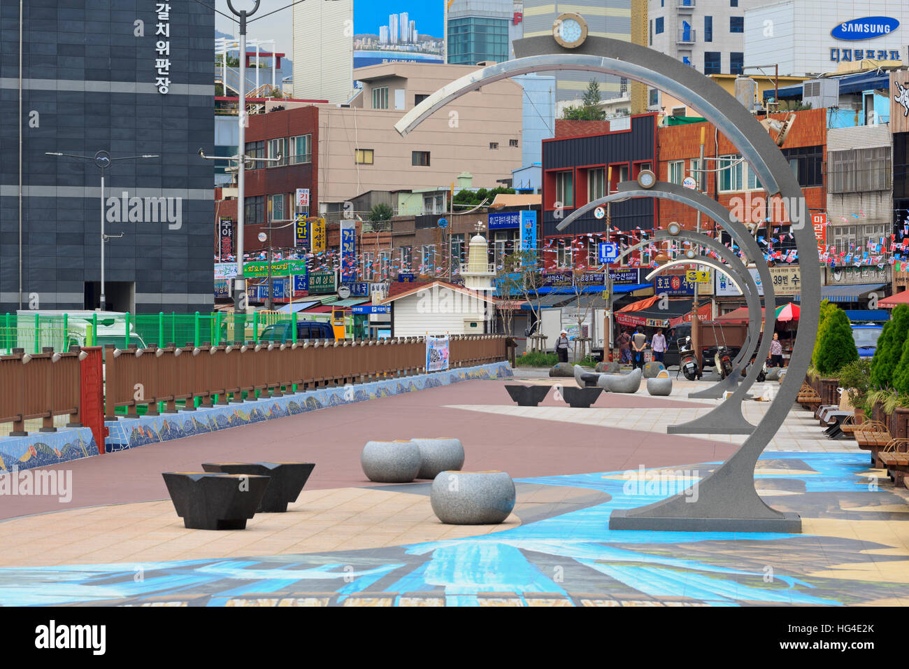 Waterfront Promenade, Nampo District, Busan, South Korea, Asia - Stock Image