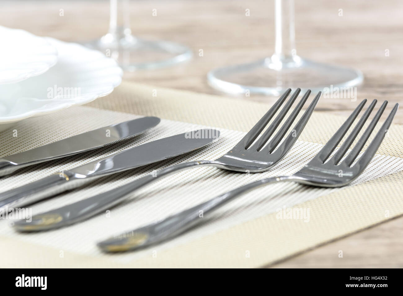 Table setting in a restaurant. Cutlery 65