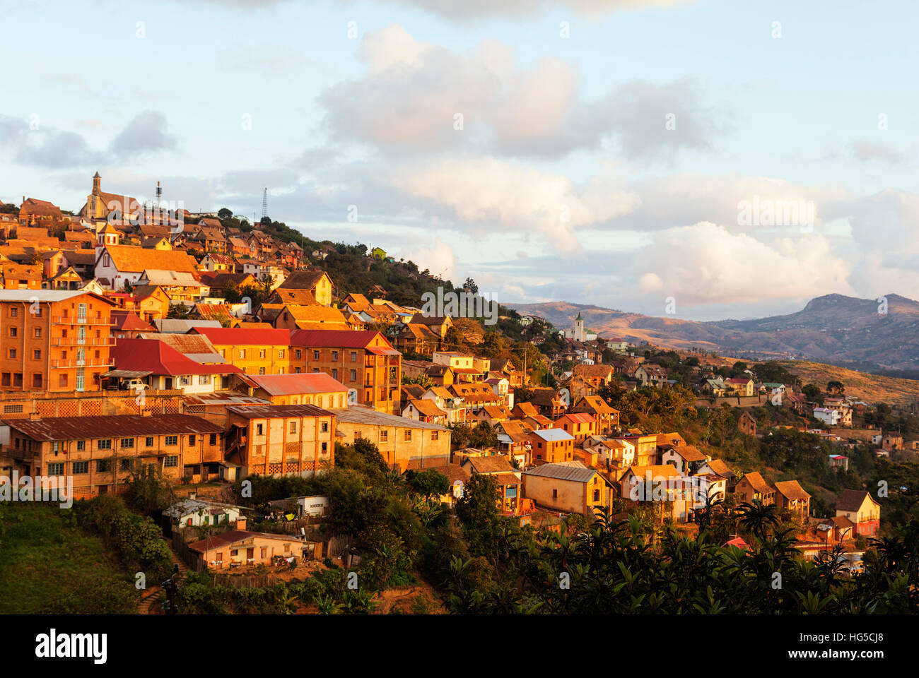 Fianarantsoa Haute Ville in the afternoon, central area, Madagascar - Stock Image