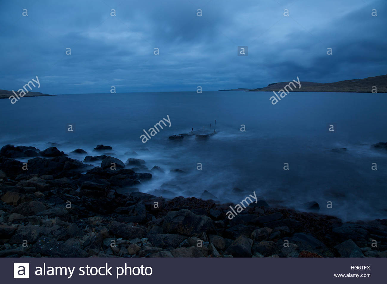 The tide in Twighlight Shetland Stock Photo