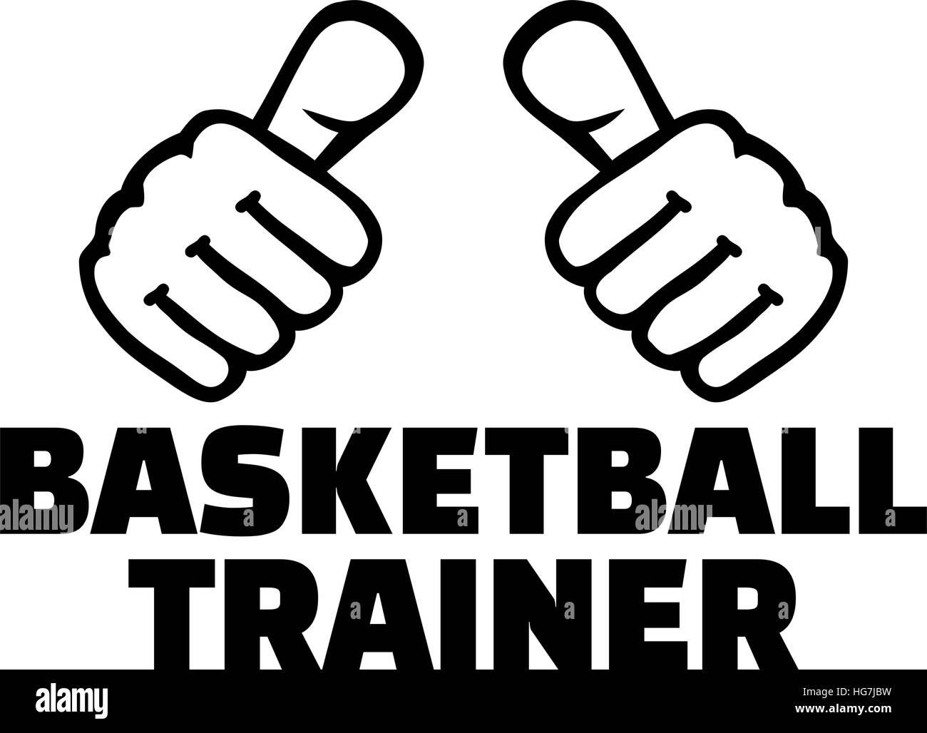 basketball coach with thumbs german word stock vector art