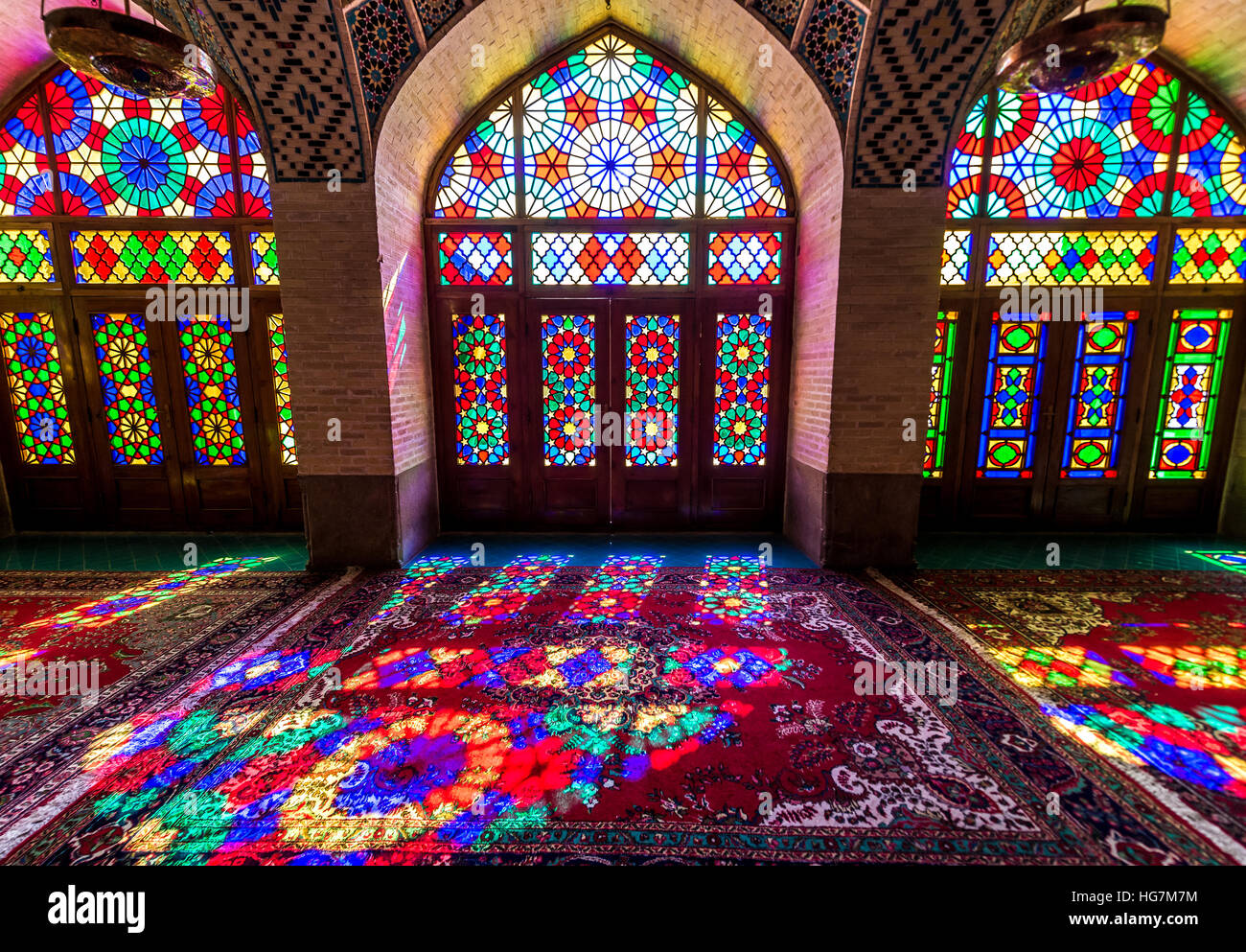 colored glass in nasir ol molk mosque pink mosque in shiraz city in iran - Colored Glass