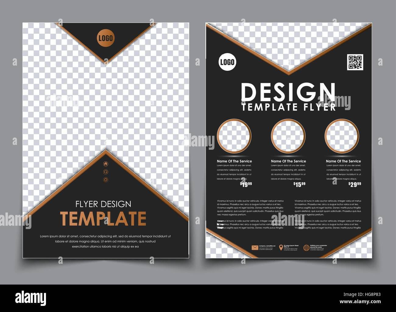 Template black A4 brochures. Design 2 pages flyer with space for ...