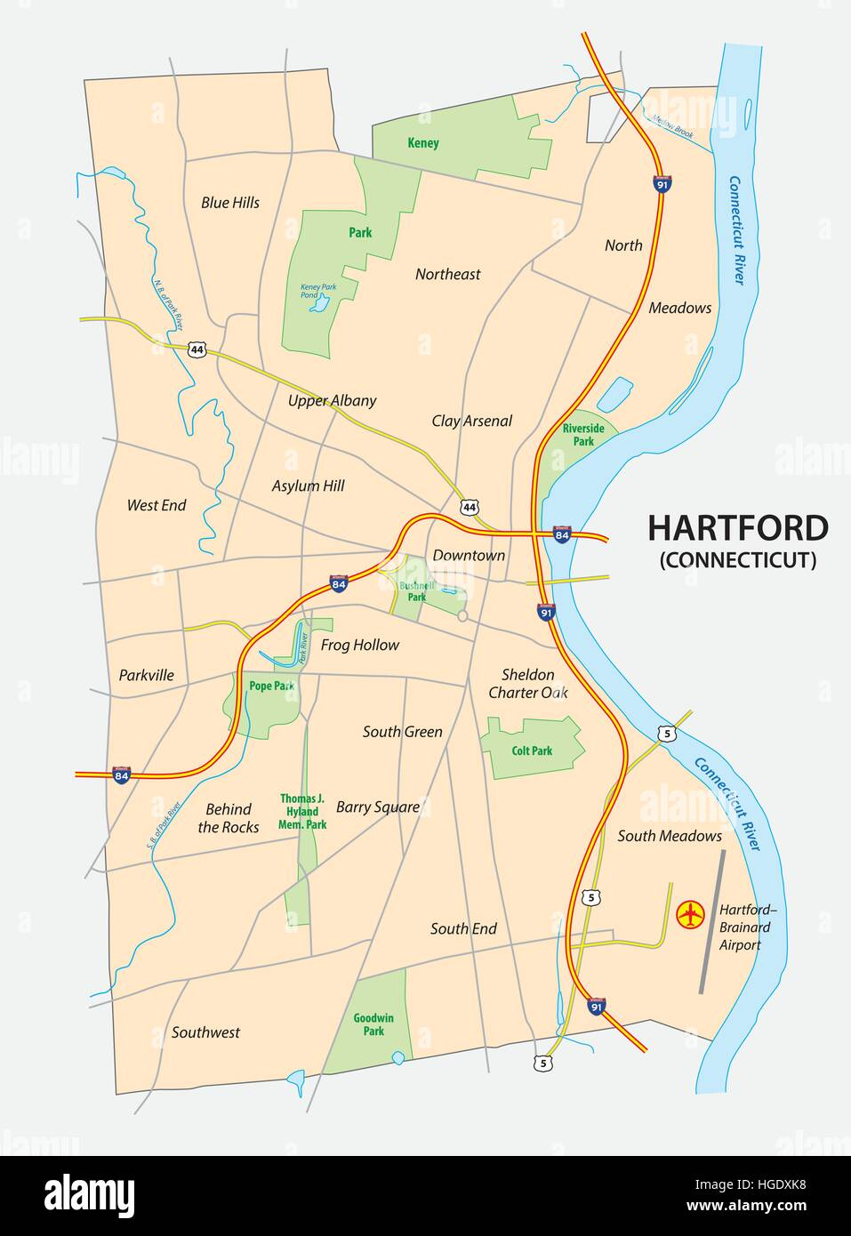 Connecticut In Us Map.Road Map Of Hartford The Capital Of The Us State Of Connecticut
