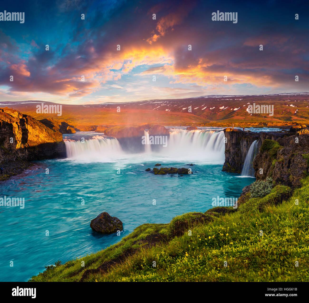 Summer morning scene on the Godafoss Waterfall. Colorful sunrise on the on Skjalfandafljot river, Iceland, Europe. - Stock Image