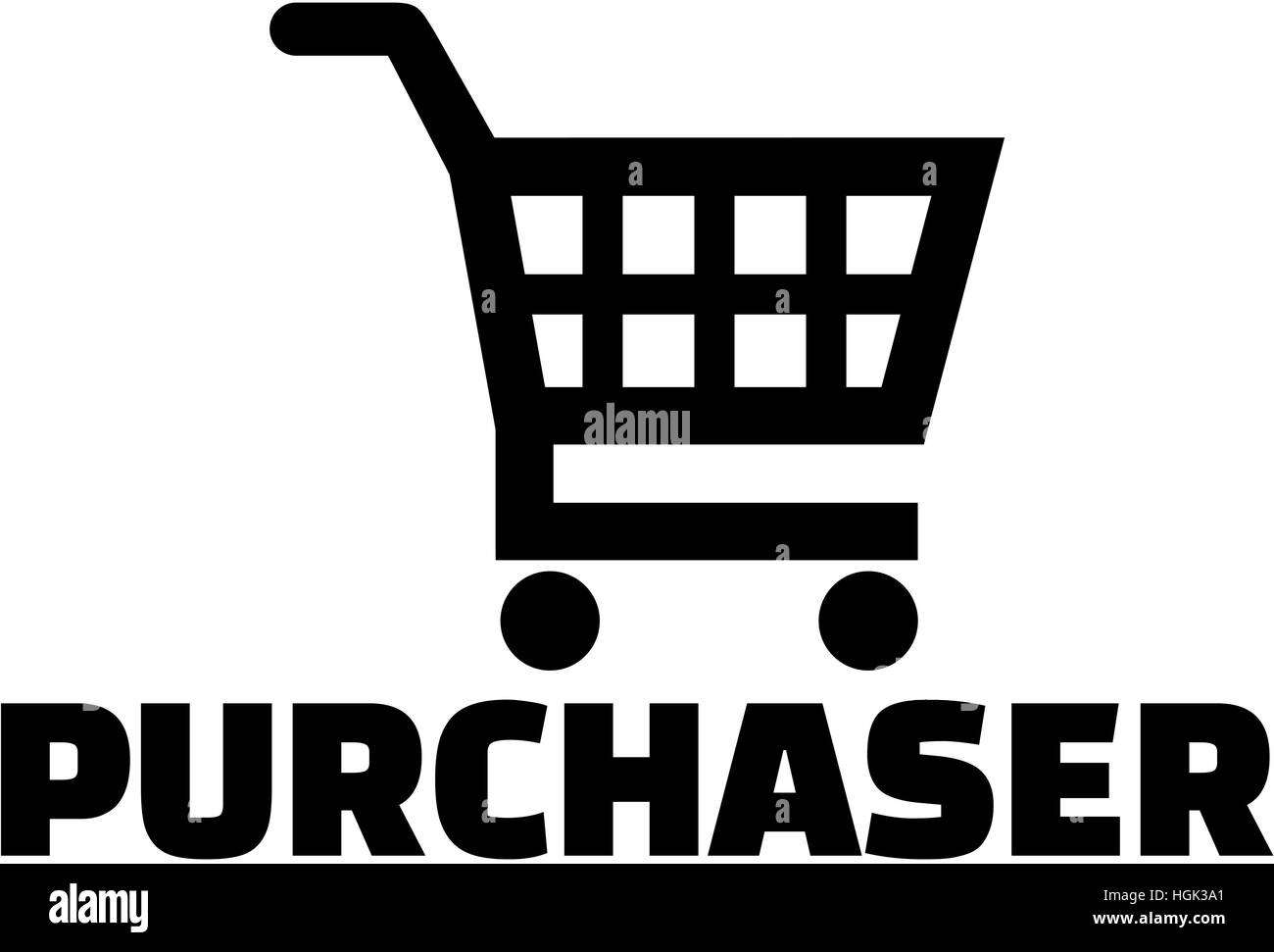 Purchaser with shopping cart icon - Stock Image