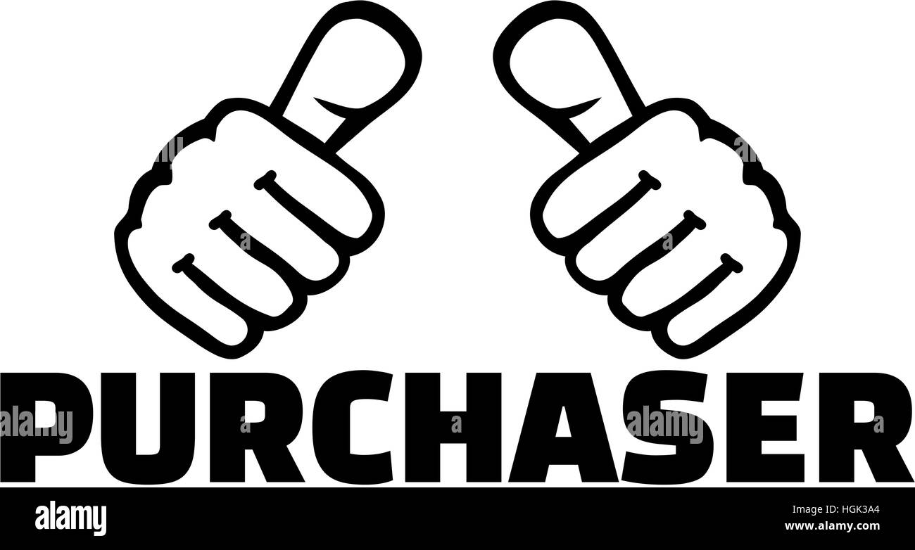Purchaser with thumbs. T-Shirt design. - Stock Image