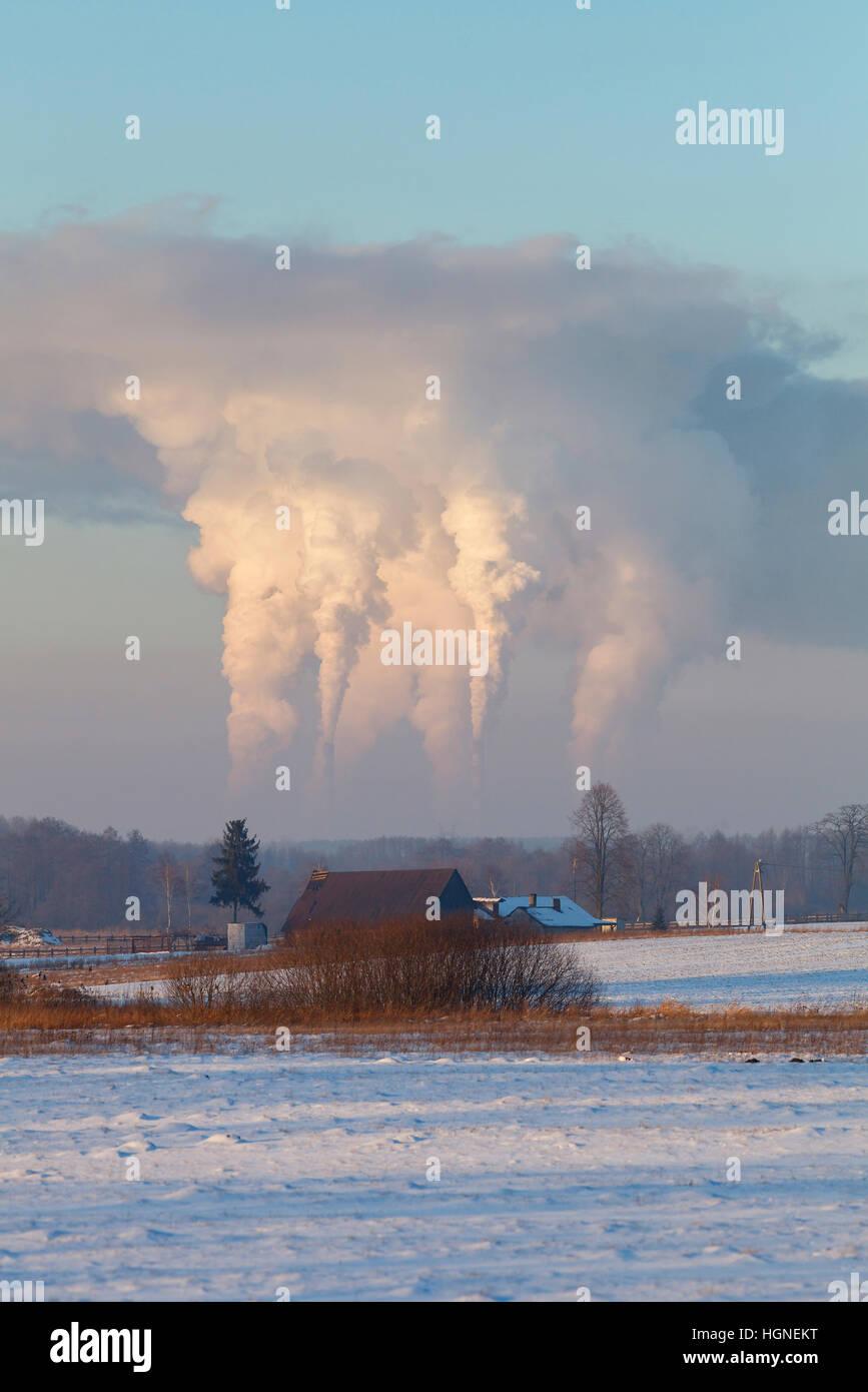 Carbon dioxide emission into atmosphere - Stock Image