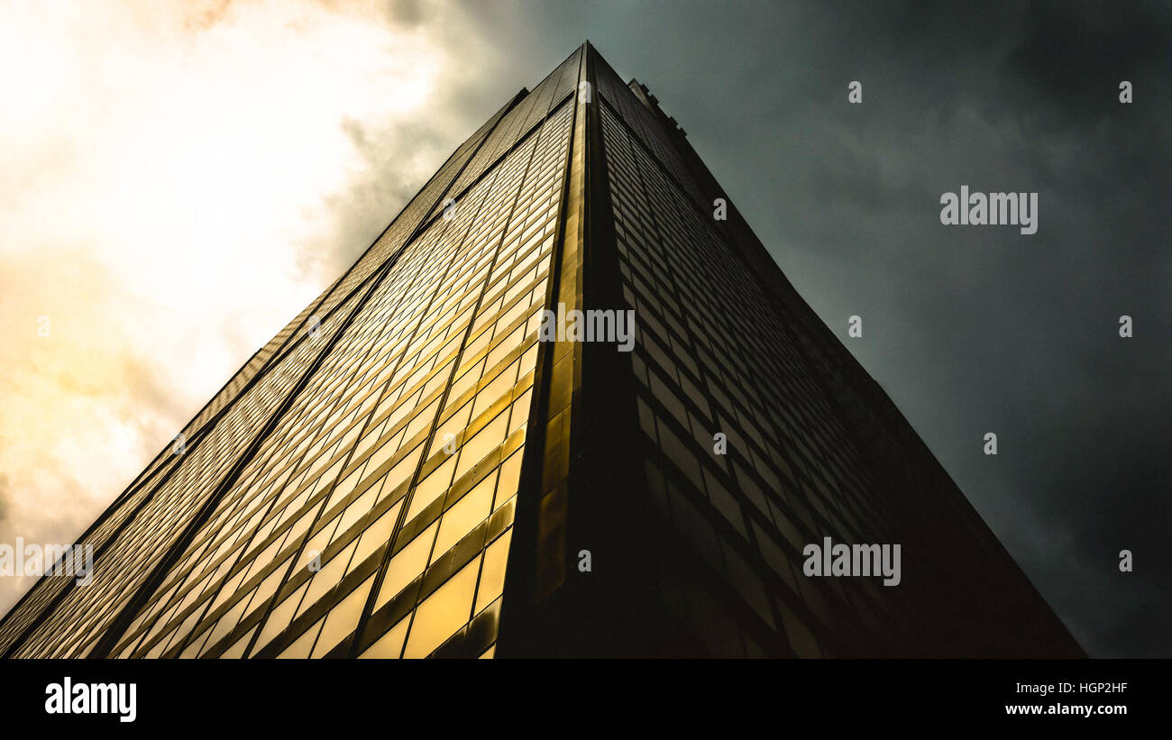 A bottom point of view of a tall building - Stock Image