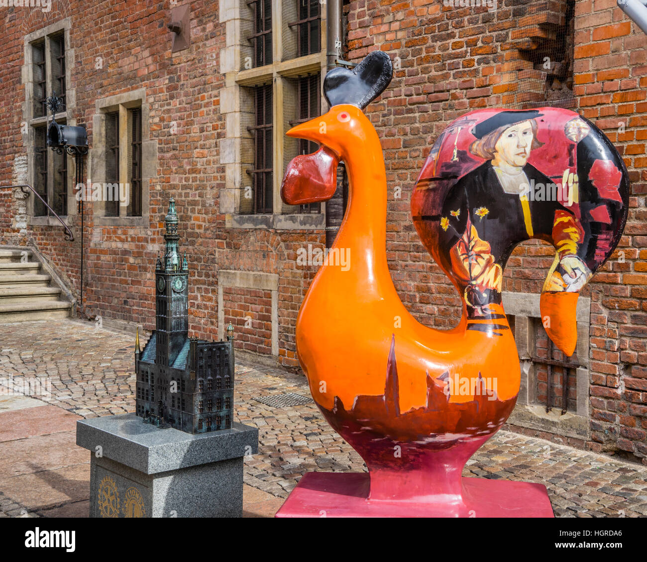 Poland, Pomerania, Gdansk (Danzig), miniature model and rooster sculpture at the Main City Hall - Stock Image
