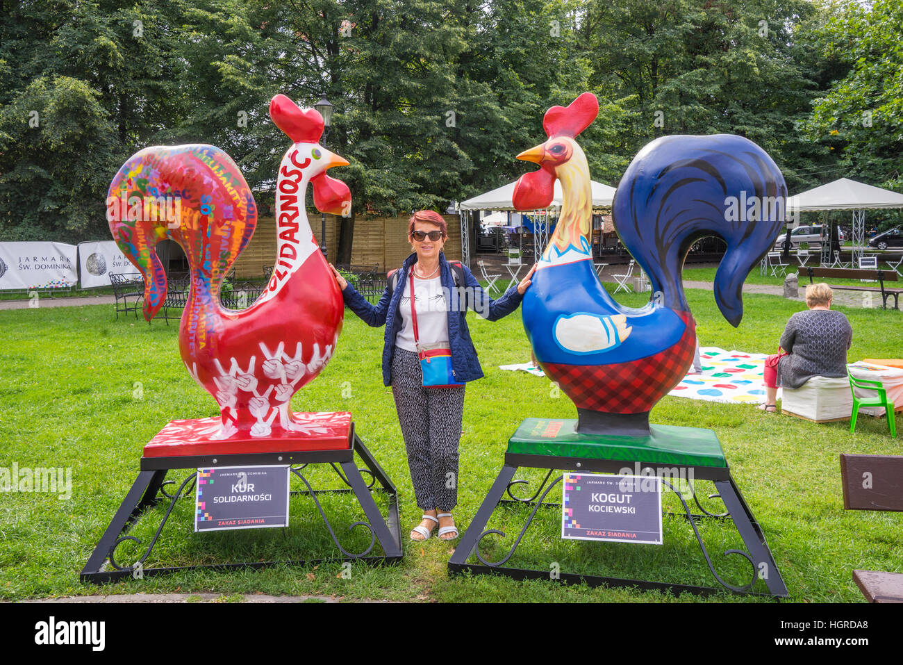 Poland, Pomerania, Gdansk (Danzig), rooster sculpture exhibit during the annual St. Dominic's Fair at Kobzdej - Stock Image