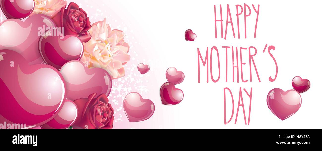 Happy Mothers Day Banner Full Vector Elements Withe Roses And Pink Glossy Hearts