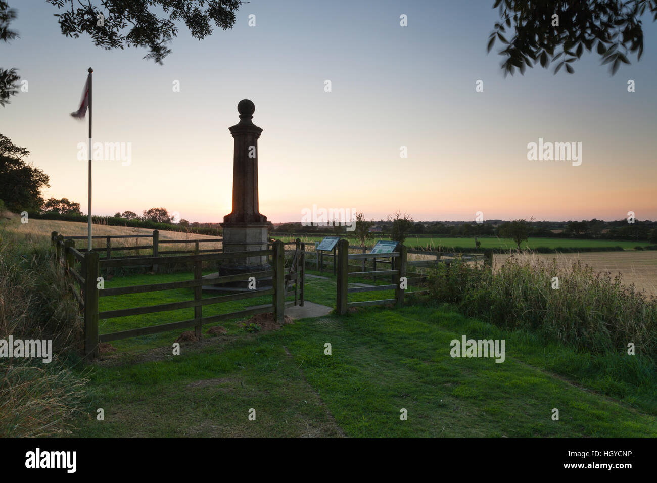 The Cromwell Monument at sunset on the site of the English Civil War battle of 1645 at Naseby in Northamptonshire, - Stock Image