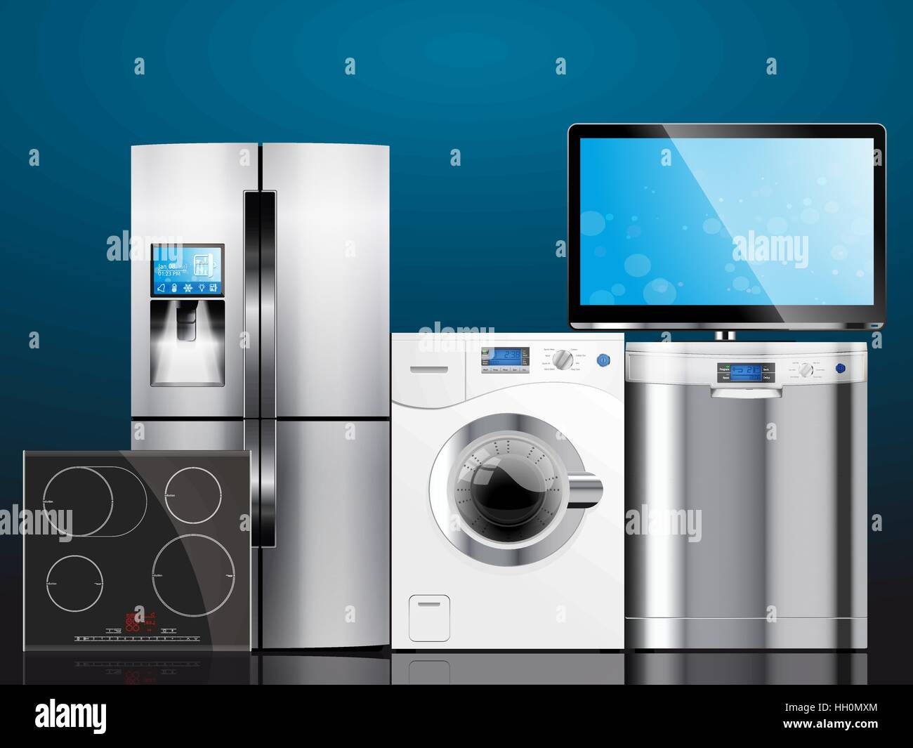 Kitchen and house appliances: microwave, washing machine Stock ...