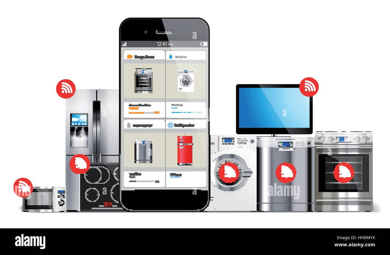 Smart home control system - kitchen and house appliances: microwave ...