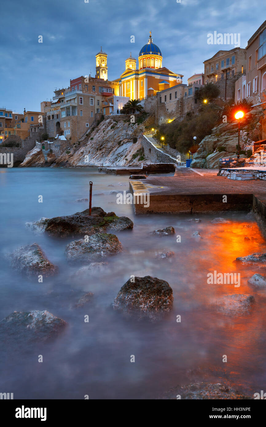 Evening view of Vaporia quarter in Ermoupoli town on Syros island in Greece. - Stock Image