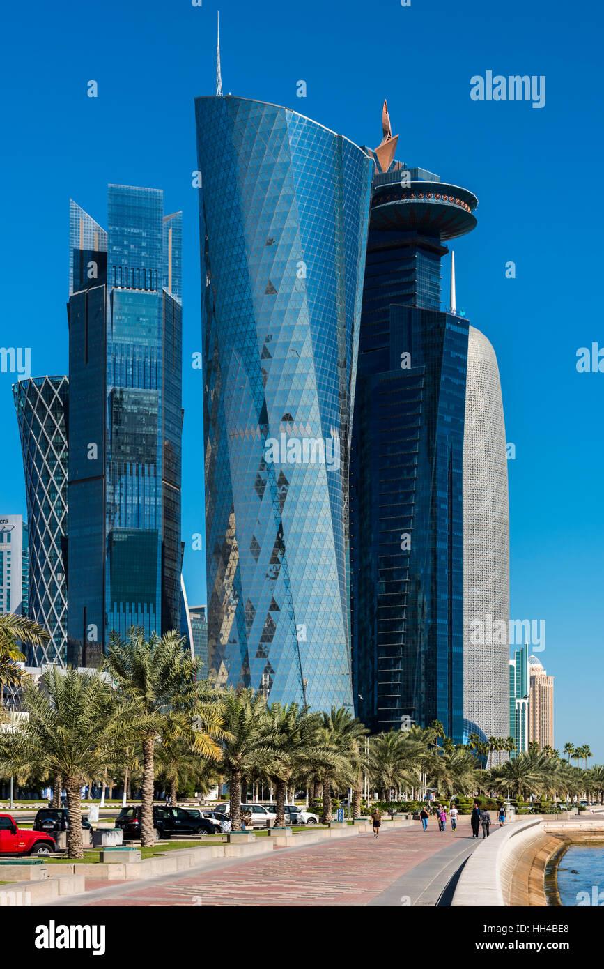 Business district skyline, Doha, Qatar - Stock Image