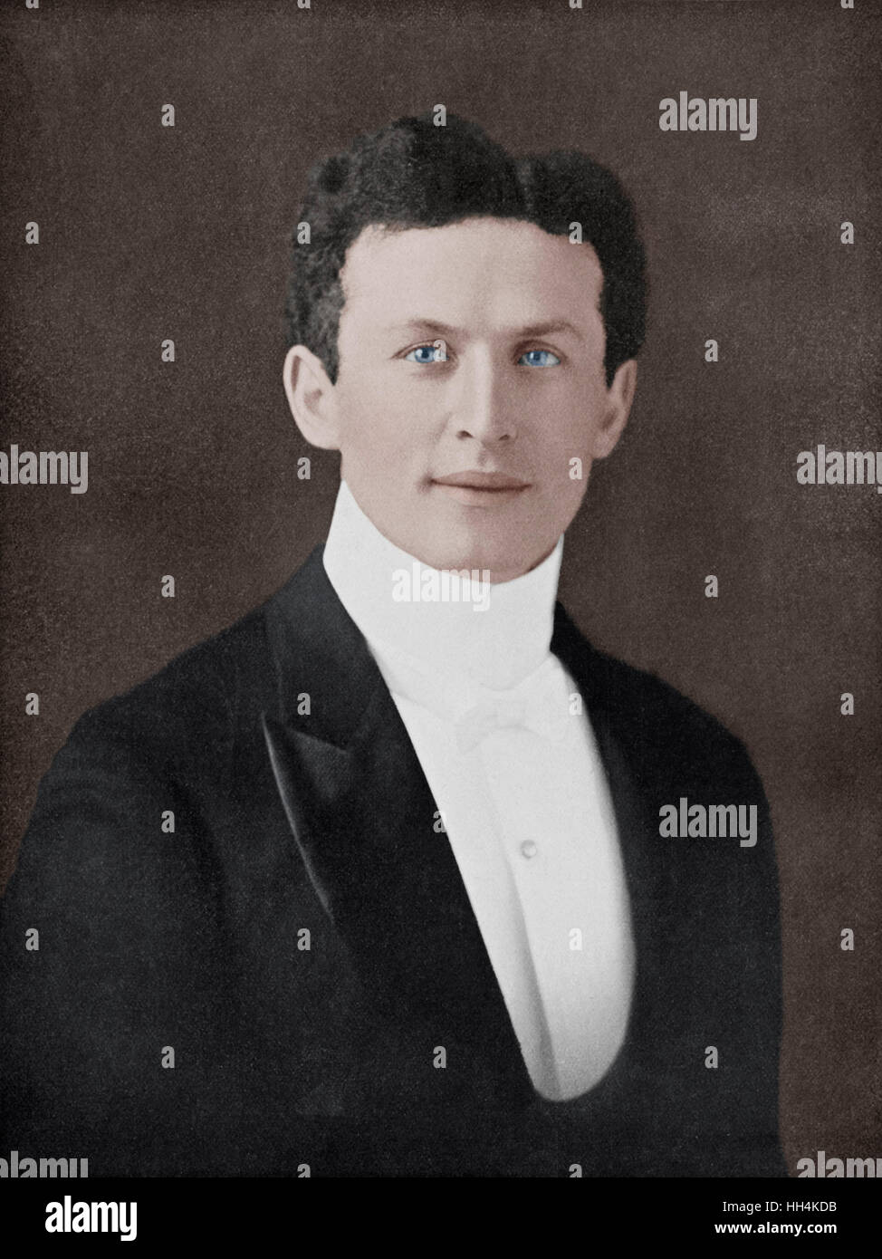 Harry Houdini (1874-1926) - American illusionist and stunt performer, noted for his sensational acts of escapology. - Stock Image