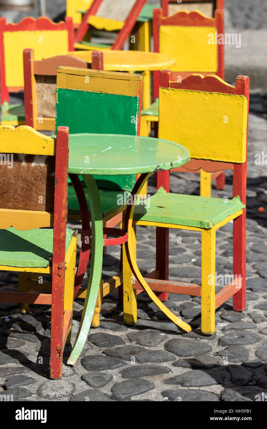 brightly painted furniture. Café Patio Furniture Brightly Painted El Jardin A