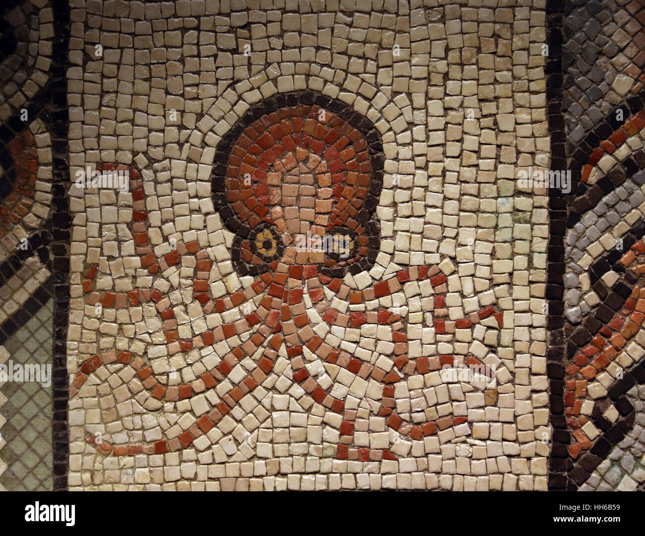 Mosaic with octopus. Limestone. 2nd-3rd century. Villaquejida, Leon. Spain. National Archaeological Museum, Madrid. Stock Photo
