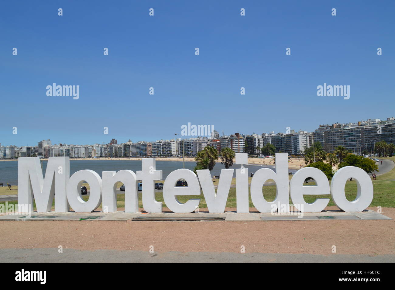 The letters of Montevideo near Pochito Beach in the city of Montevideo, Uruguay, - Stock Image