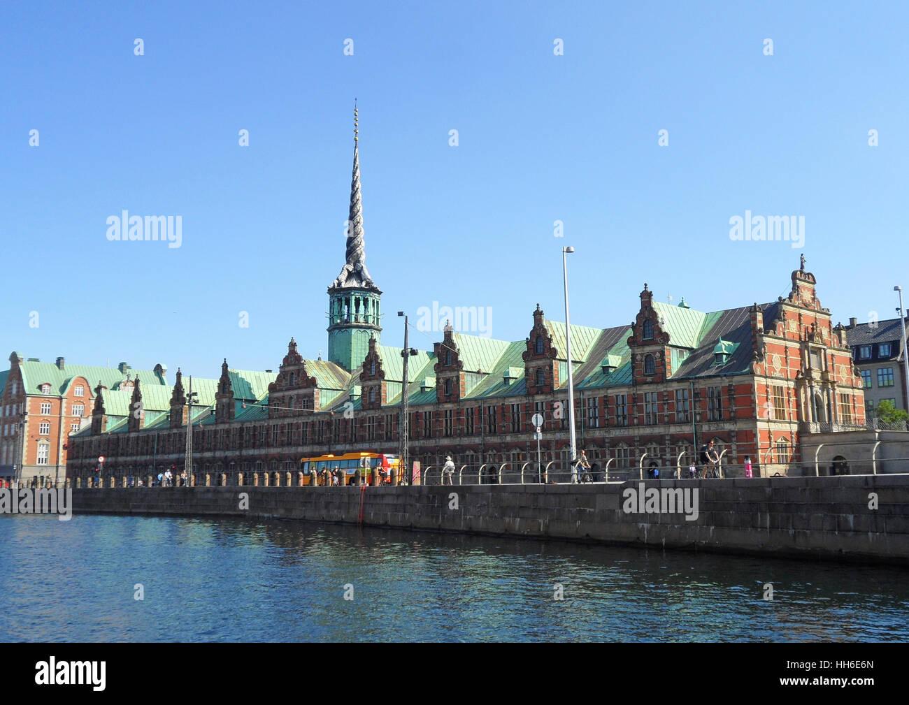 Borsen, the Impressive Old Stock Exchange Building in Copenhagen, Slotsholmen, Denmark - Stock Image