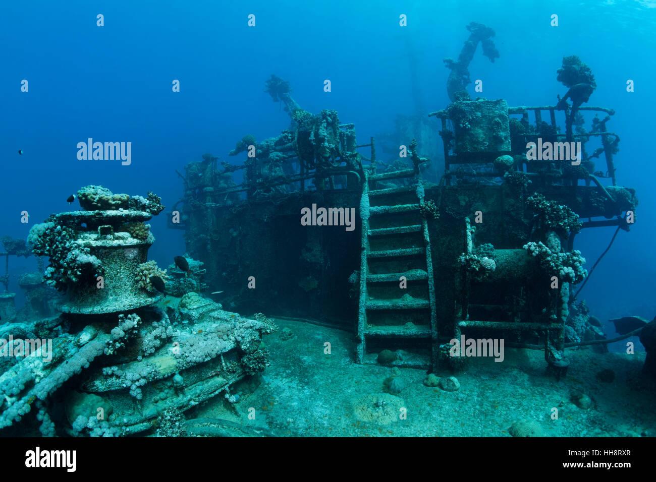Deck of shipwreck, Russian wreck MS Khanka, former spy ship or communications ship, Zabargad Island, Red Sea, Egypt - Stock Image
