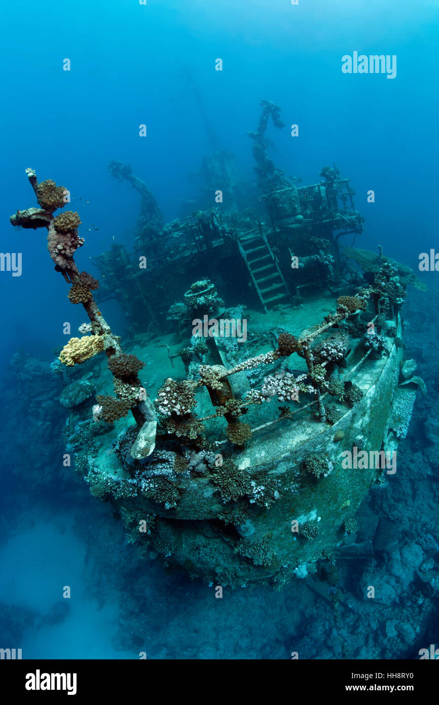 Stern of ship wreck, Russian wreck MS Khanka, former spy ship or communications ship, Zabargad Island, Red Sea, - Stock Image