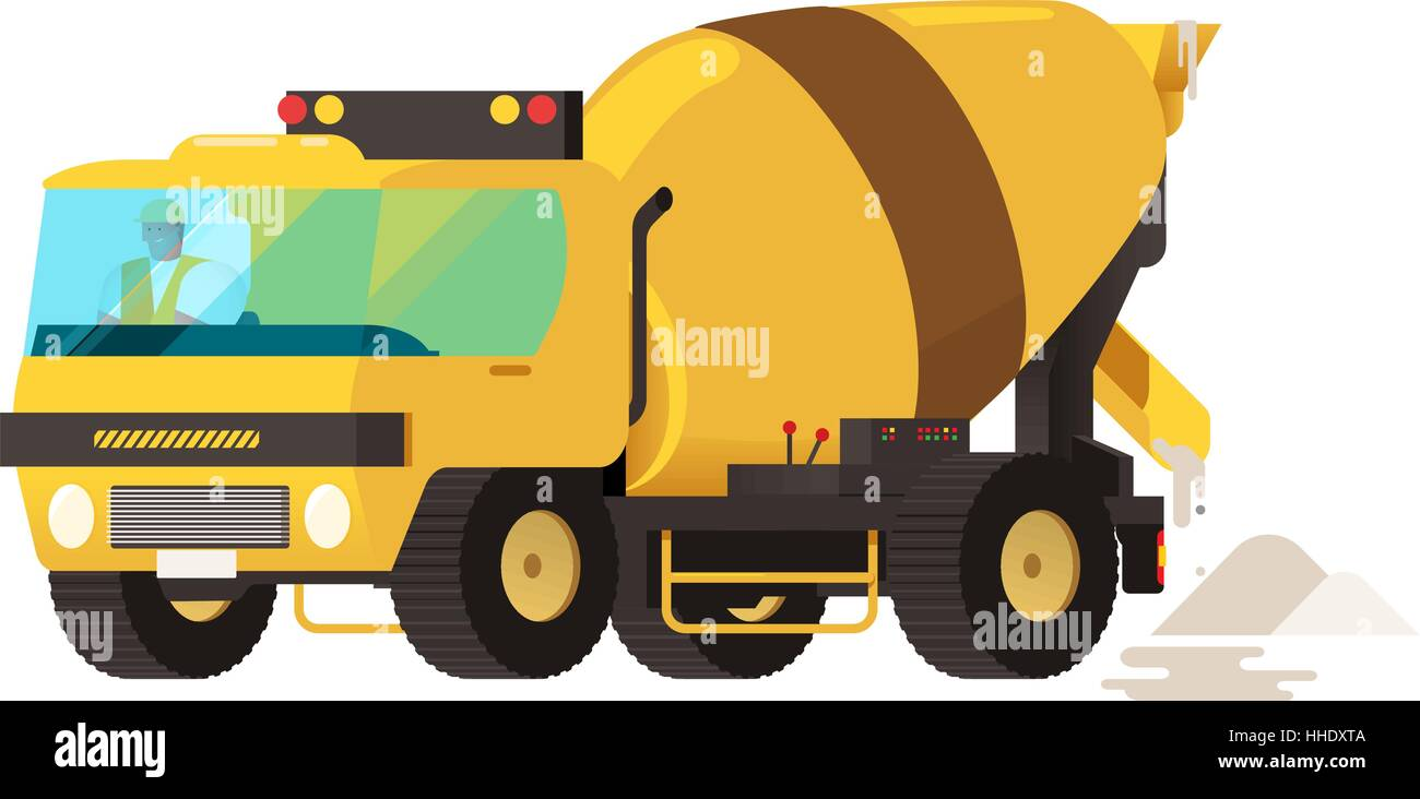 concrete mixer truck concrete machine truck vector illustration