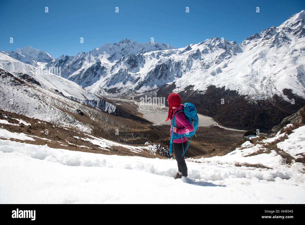 A girl surveys the Langtang valley from the top of Kyanjin Ri with the peak of Ganchempo in the distance, Langtang - Stock Image