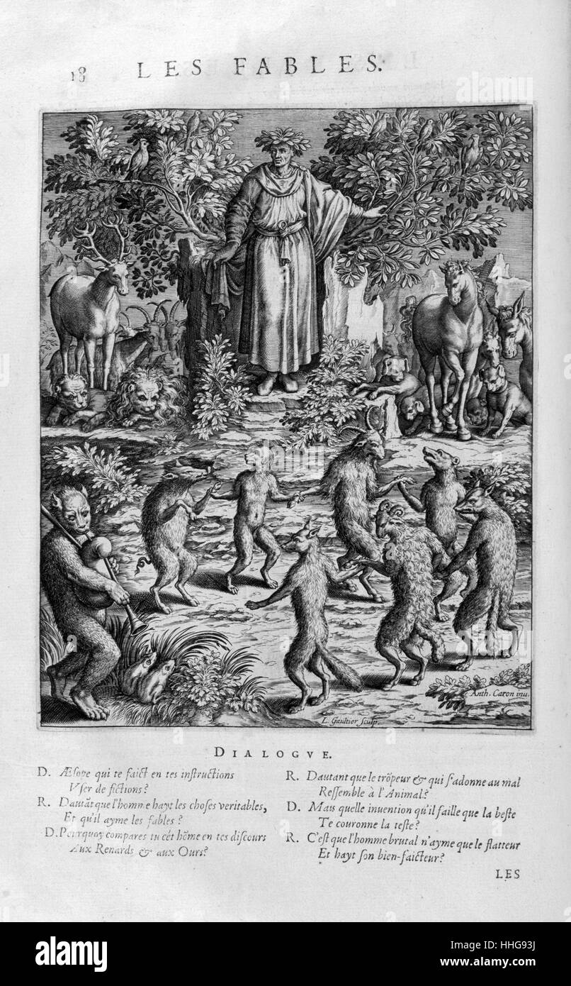 Dante muses on Aesop's fables. - Stock Image