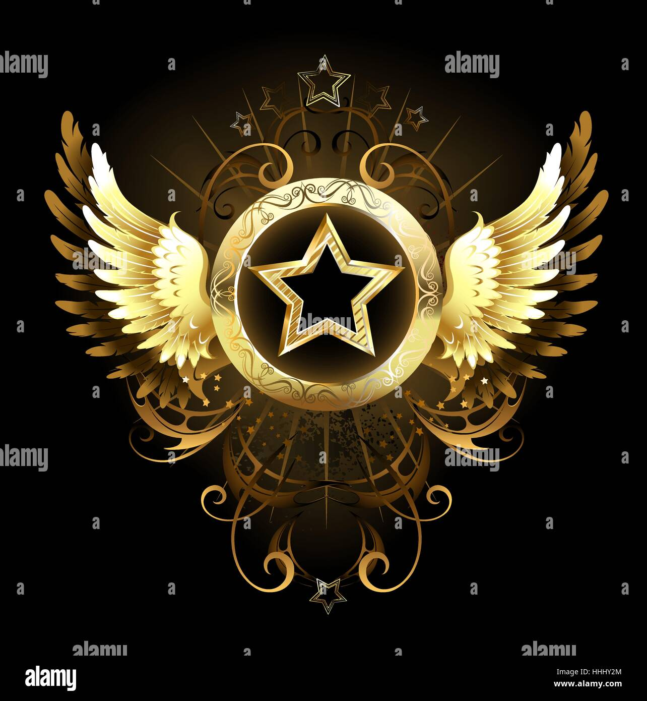 gold star with a circular banner decorated with golden wings and a