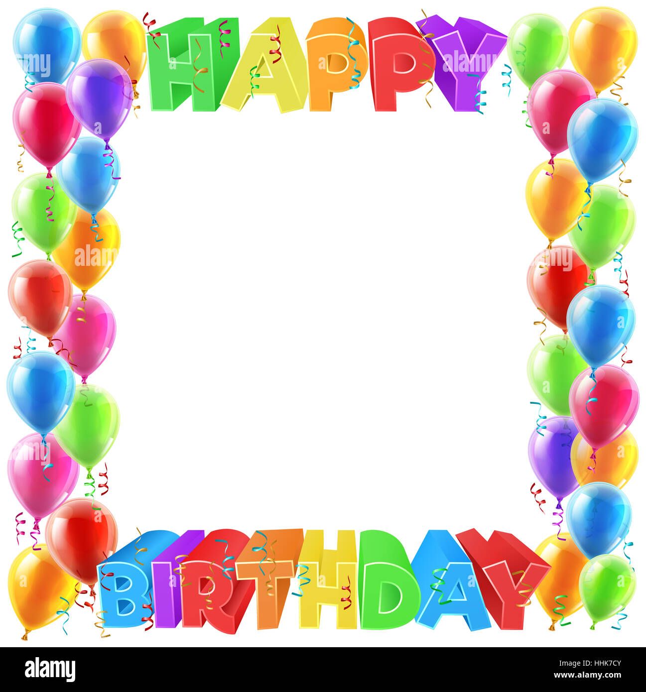 A Balloons And Happy Birthday Bright Color Word Text Sign