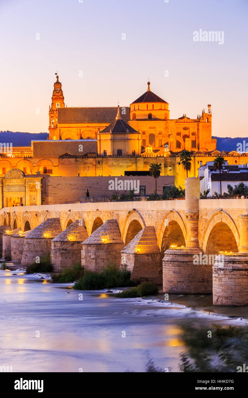 Cordoba, Spain. Roman Bridge and Mezquita. - Stock Image