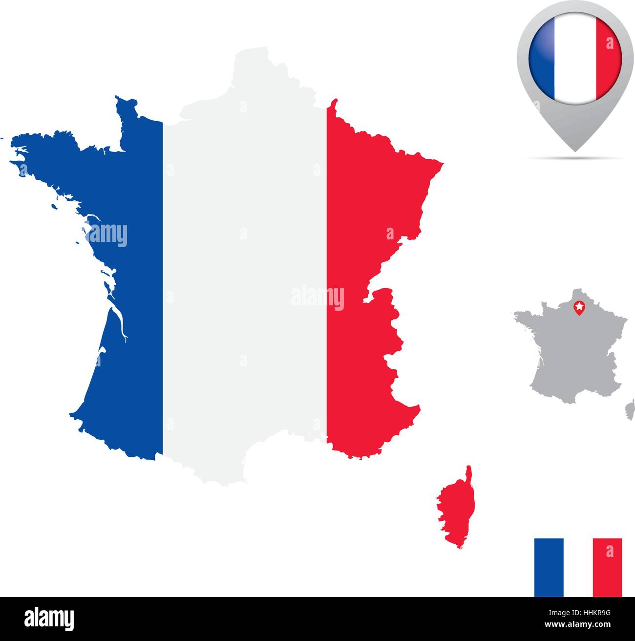 France Map In National Flag Colors Flag Marker And Location Of Its