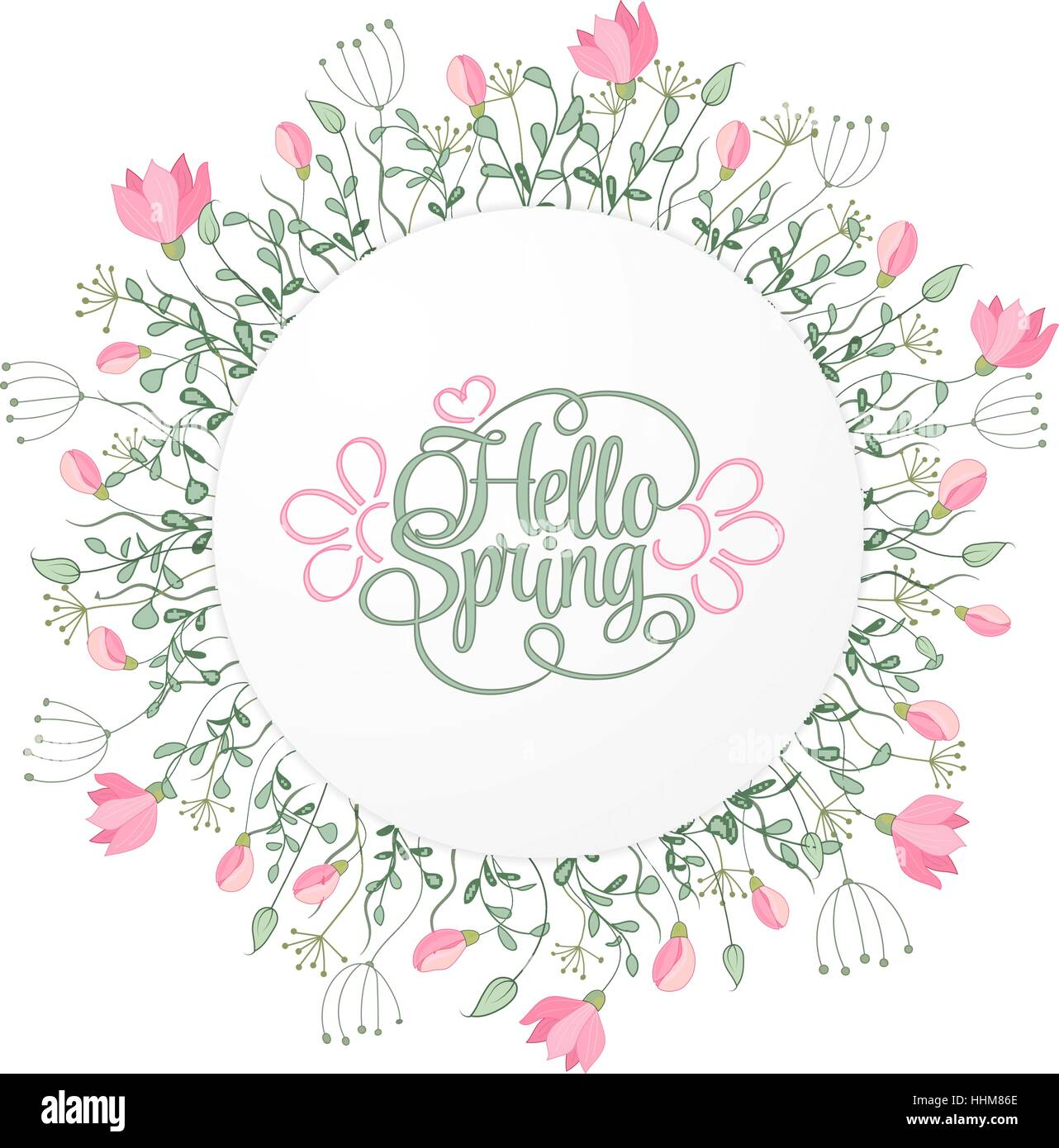 Spring hand draw round frame with gentle pink flowers leaves and spring hand draw round frame with gentle pink flowers leaves and herbs botanical vector illustration hello spring invitation card stopboris Choice Image