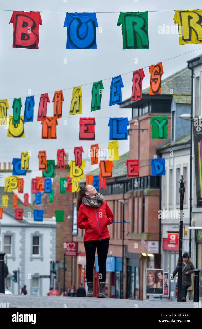 Big Burns Supper Carnival, Dumfries, Scotland. Artist Rachael McDougall views her art installation The Washing Line - Stock Image