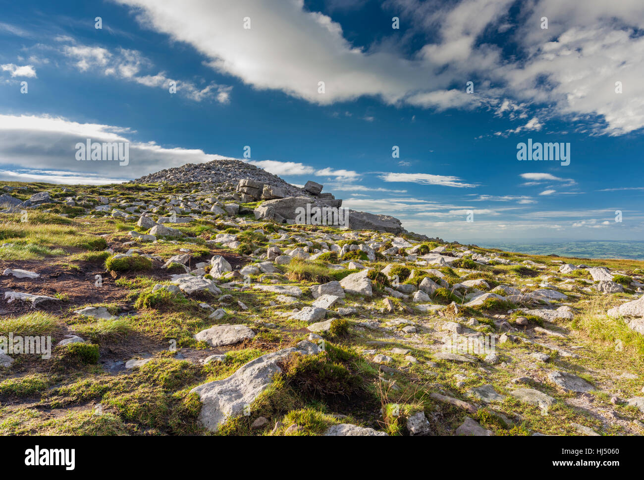 The large cairn at the summit of Slievenamon, County Tipperary, Ireland Stock Photo