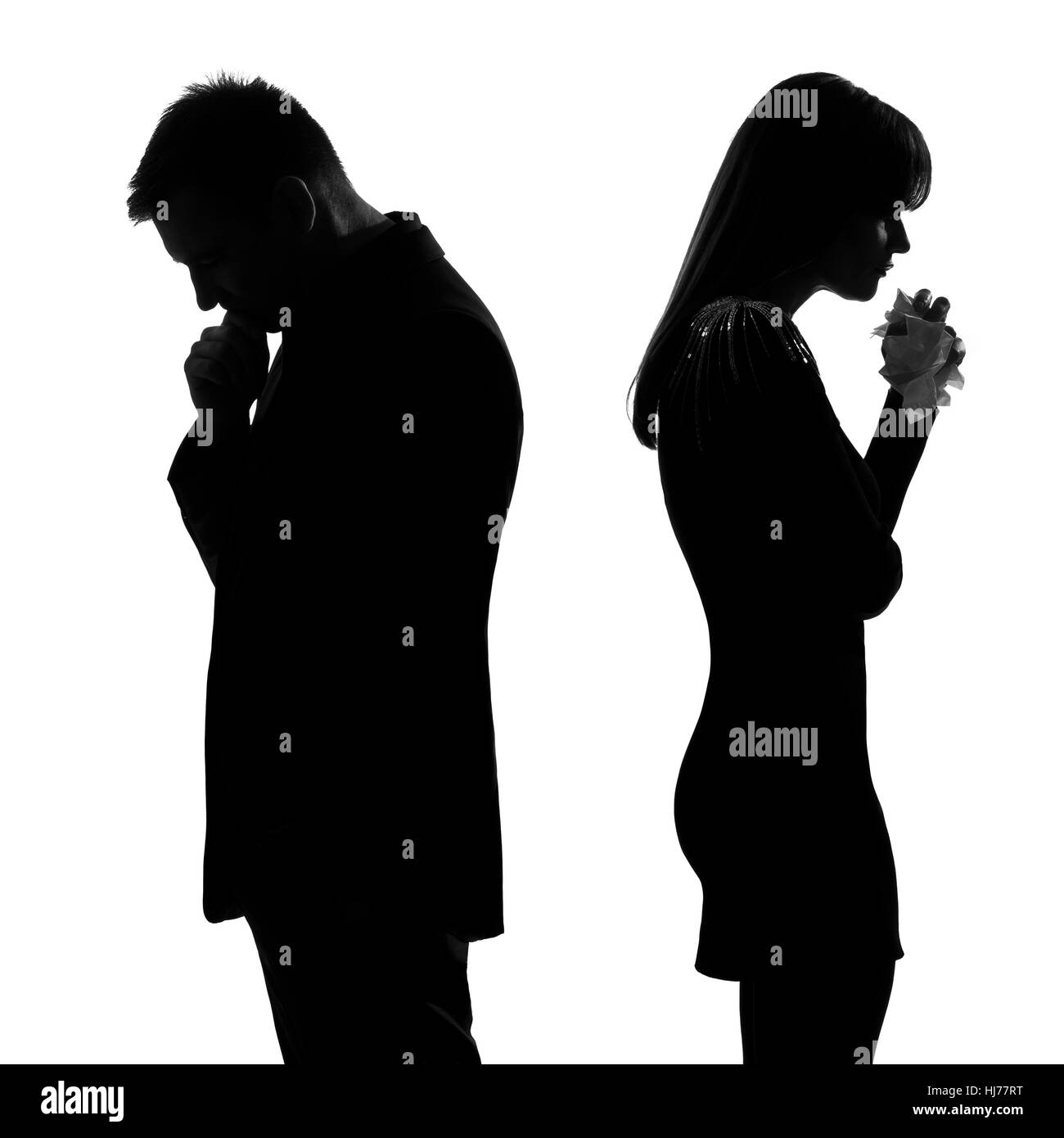 one caucasian sad couple back to back man thinking and woman crying ... for Person Thinking Silhouette  599kxo