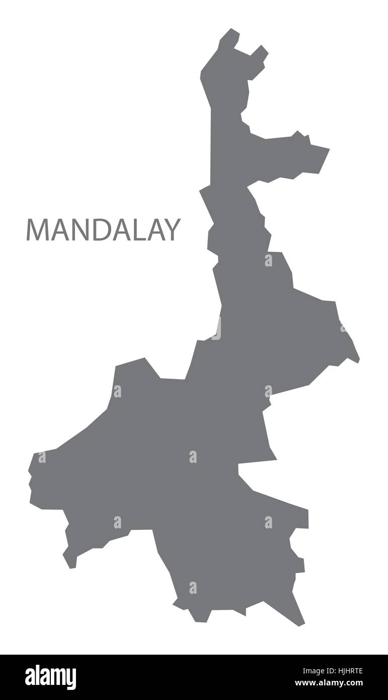 Mandalay Myanmar Map in grey Stock Vector Art Illustration Vector
