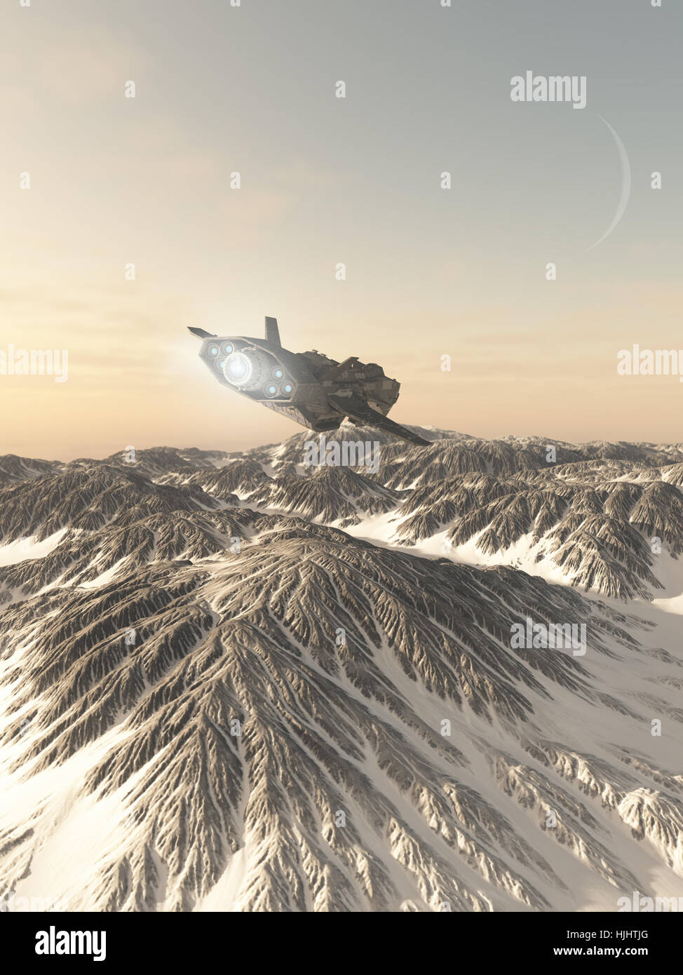 Interplanetary Spaceship Flying Over Snow Covered Mountains - science fiction illustration - Stock Image