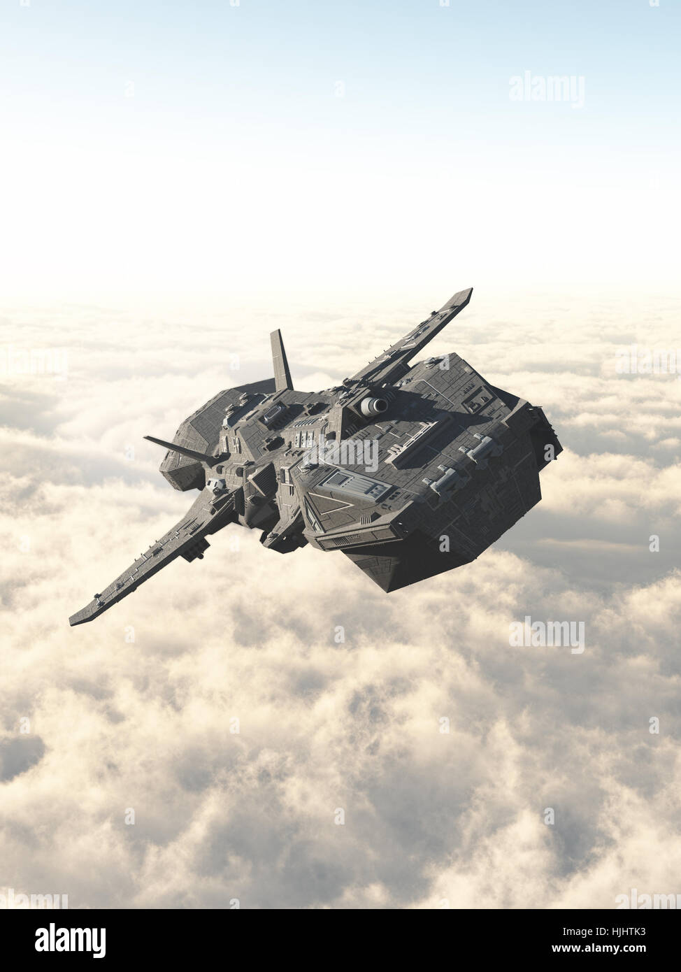 Interplanetary Spaceship Above the Clouds - Stock Image