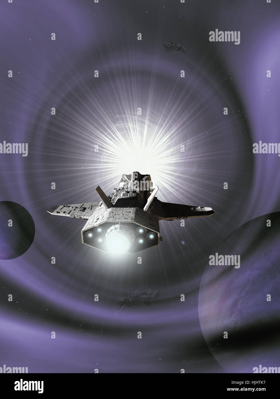 Interplanetary Spaceship Approaching a Purple Wormhole in Deep Space - science fiction illustration - Stock Image