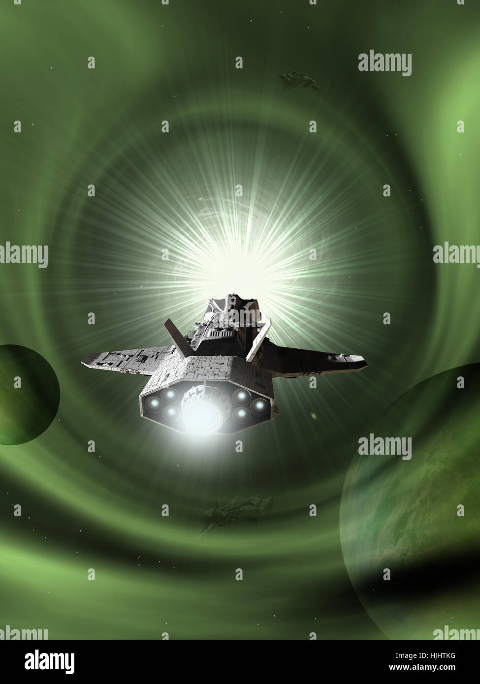Interplanetary Spaceship Approaching Light Speed - science fiction illustration - Stock Image