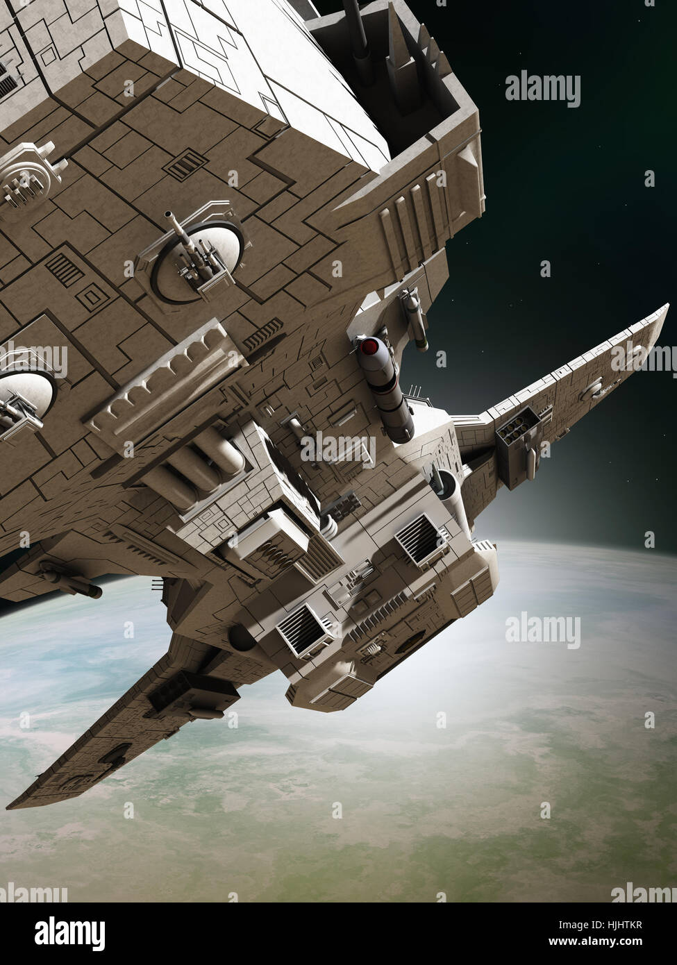 Interplanetary Spaceship Leaving Orbit, Close View - science fiction illustration - Stock Image