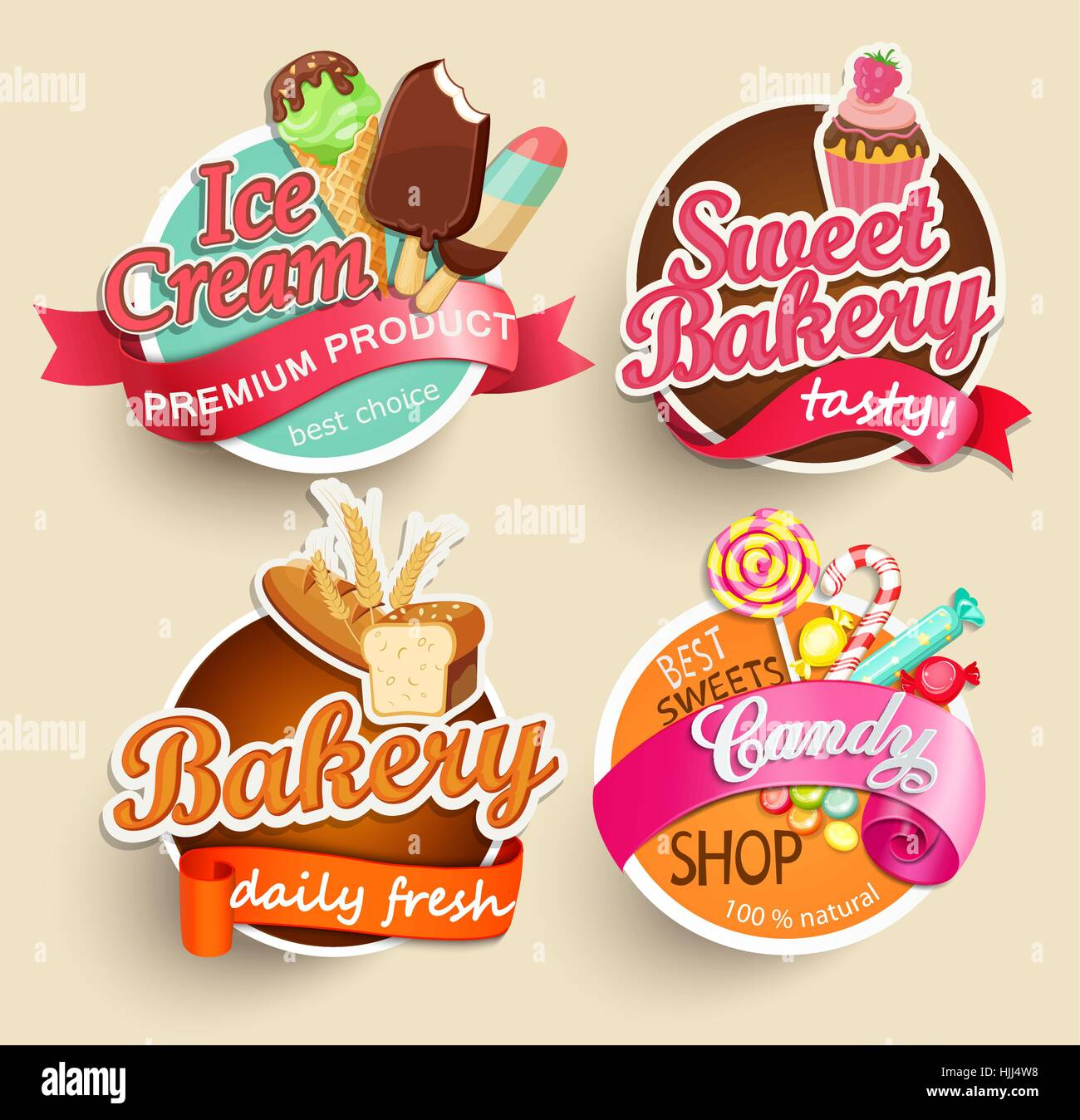 food label or sticker - bakery, ice cream, candy, sweet bakery stock