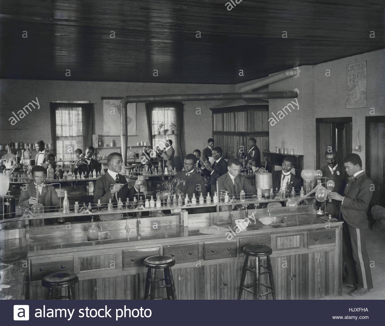 Students in Chemistry Class, Tuskegee Institute, Tuskegee, Alabama, USA, by Frances Benjamin Johnson, 1902 Stock Photo