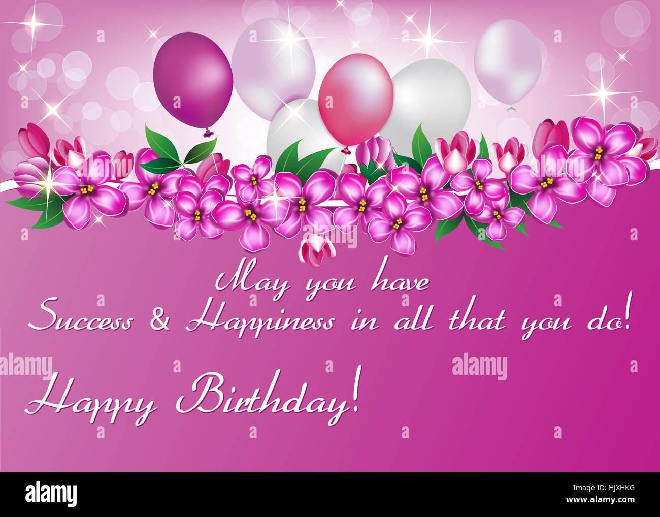 Happy Birthday Flowers And Balloons ~ Elegant birthday card also for print. happy birthday elegant stock