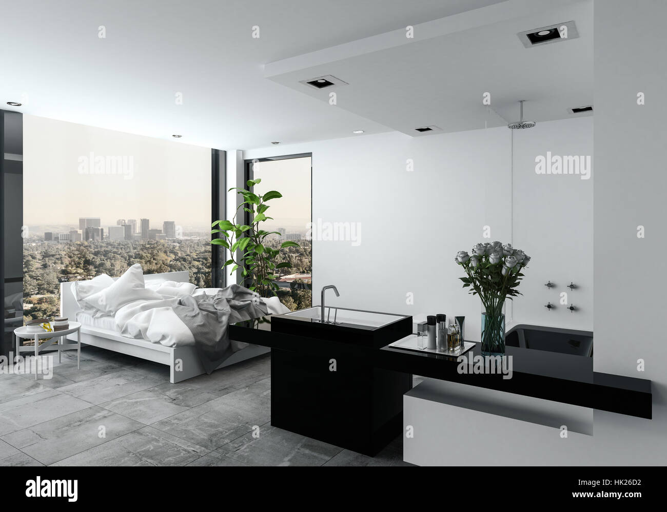 Open plan modern bedroom bathroom in a studio with a messy unmade ...