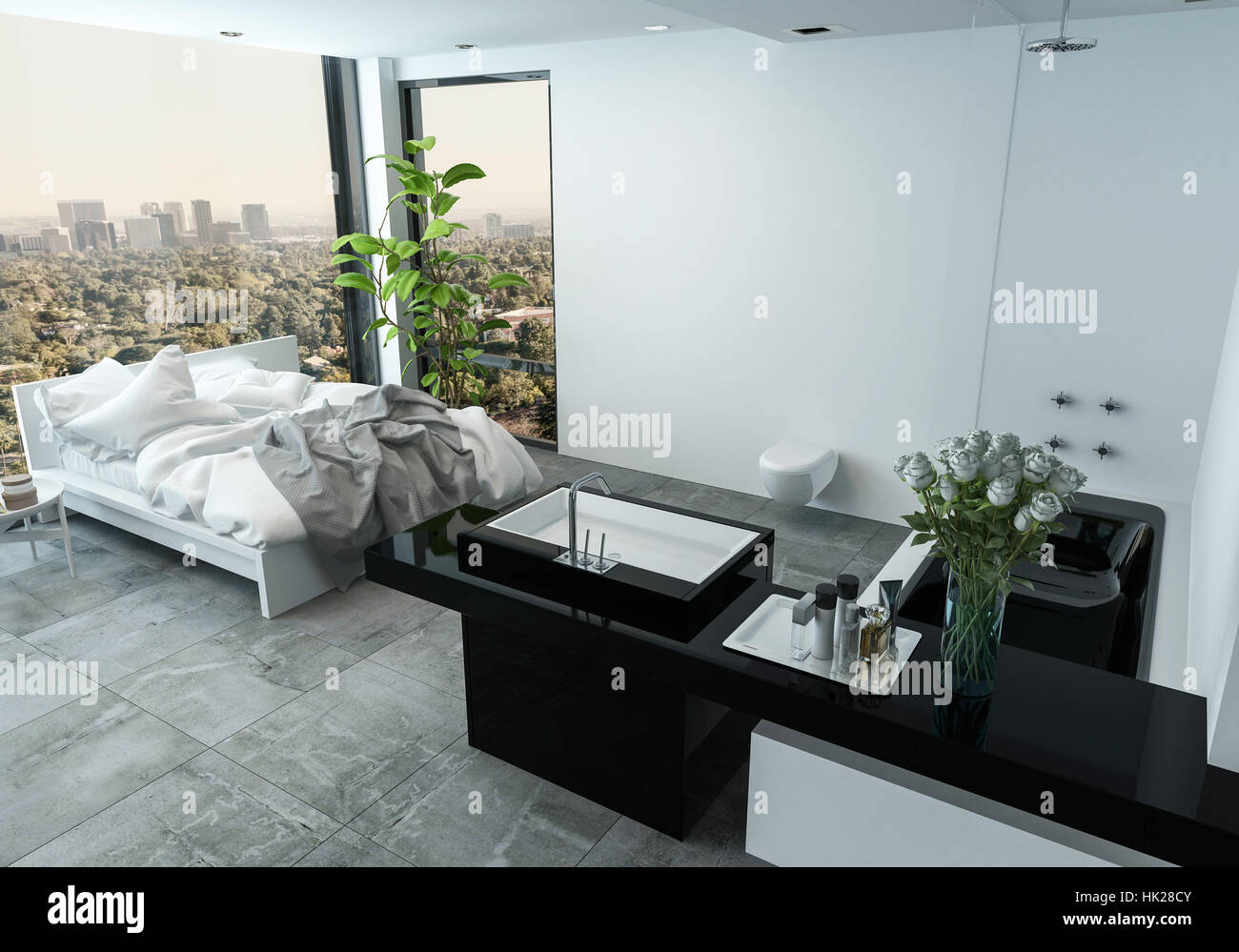 messy apartment room. Messy bed in the corner angle of large view windows overlooking city  a stylish studio apartment with bathroom and houseplants 3d render